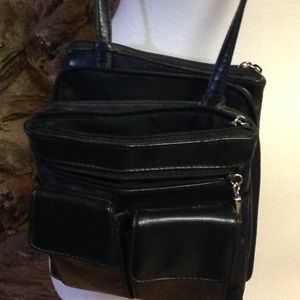 Handbags - Black leather cross body purse of many pockets